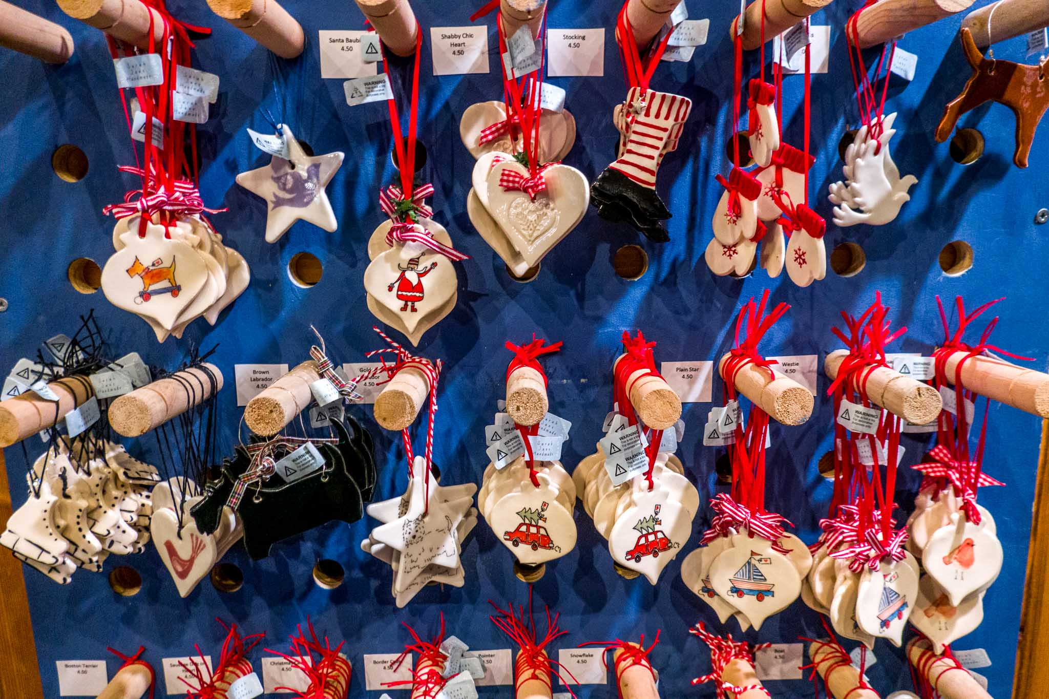 Handmade ornaments for sale at the market