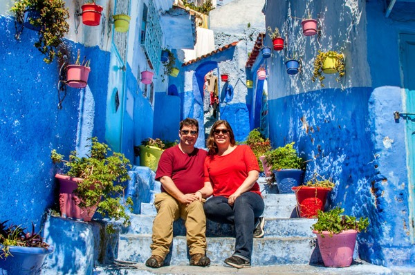 Lance and Laura, Travel Addicts, in Chefchaouen, Morocco