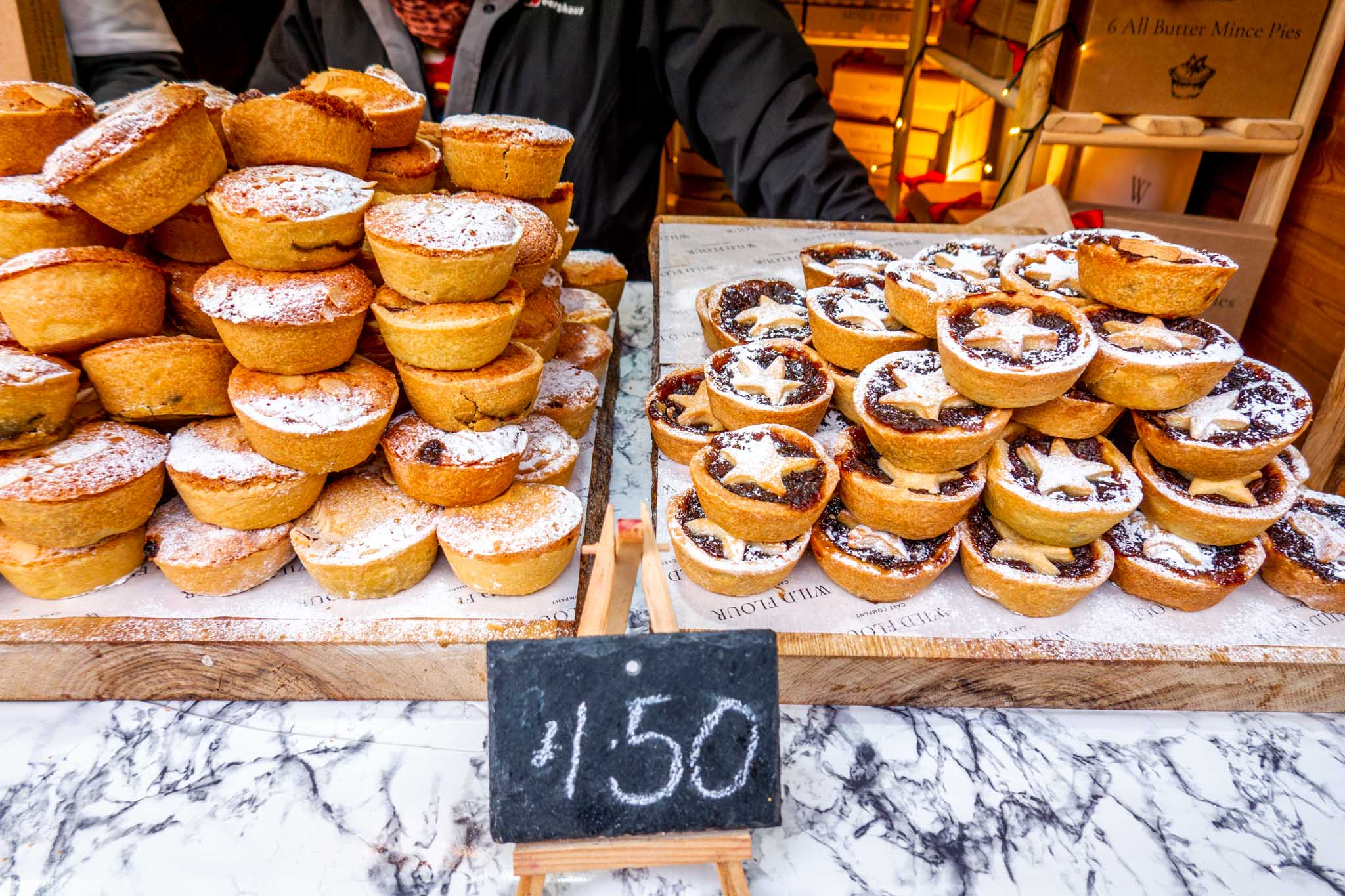 Stacks of small mince pies for sale