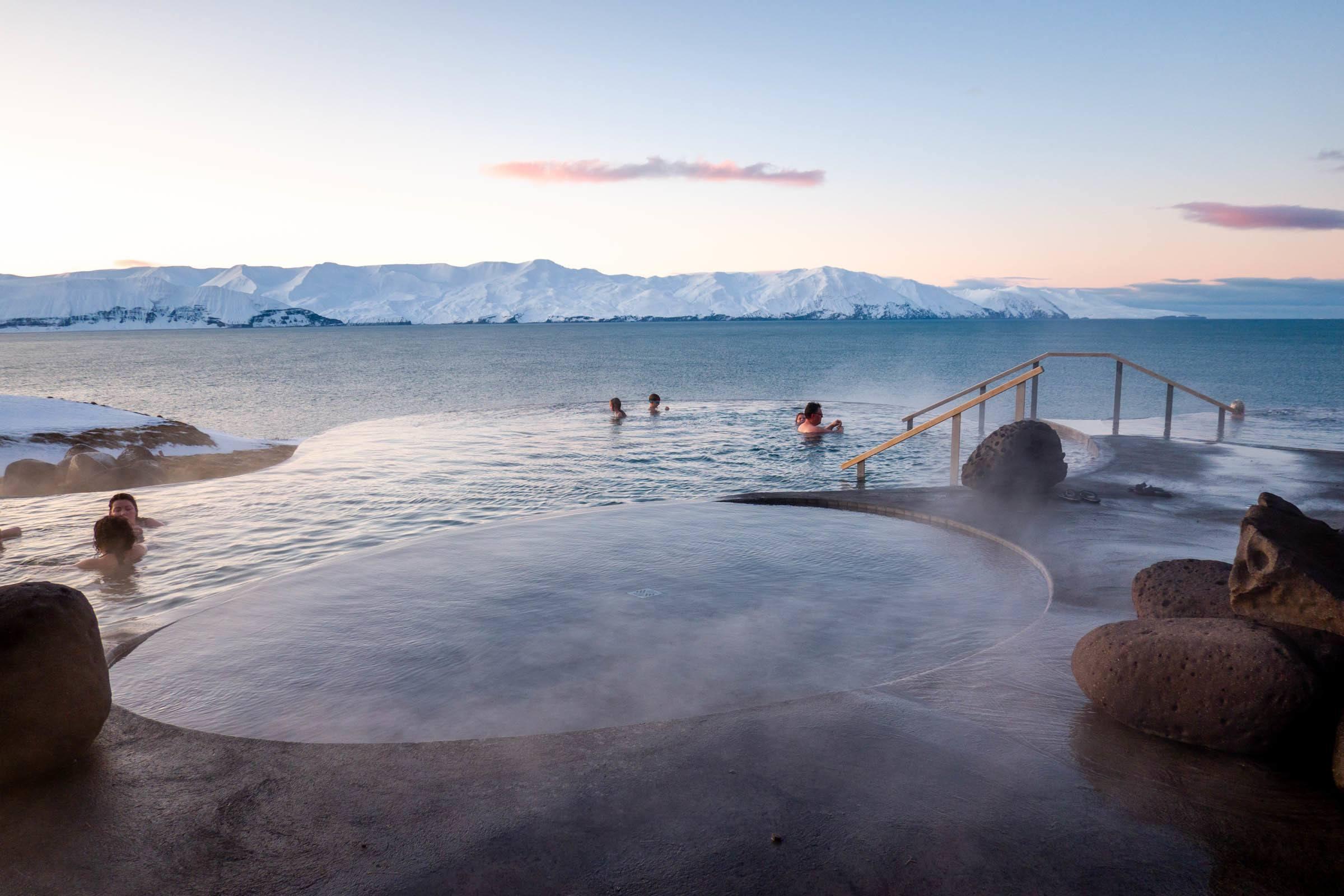 The infinity pools of the GeoSea Thermal Baths in Husavik