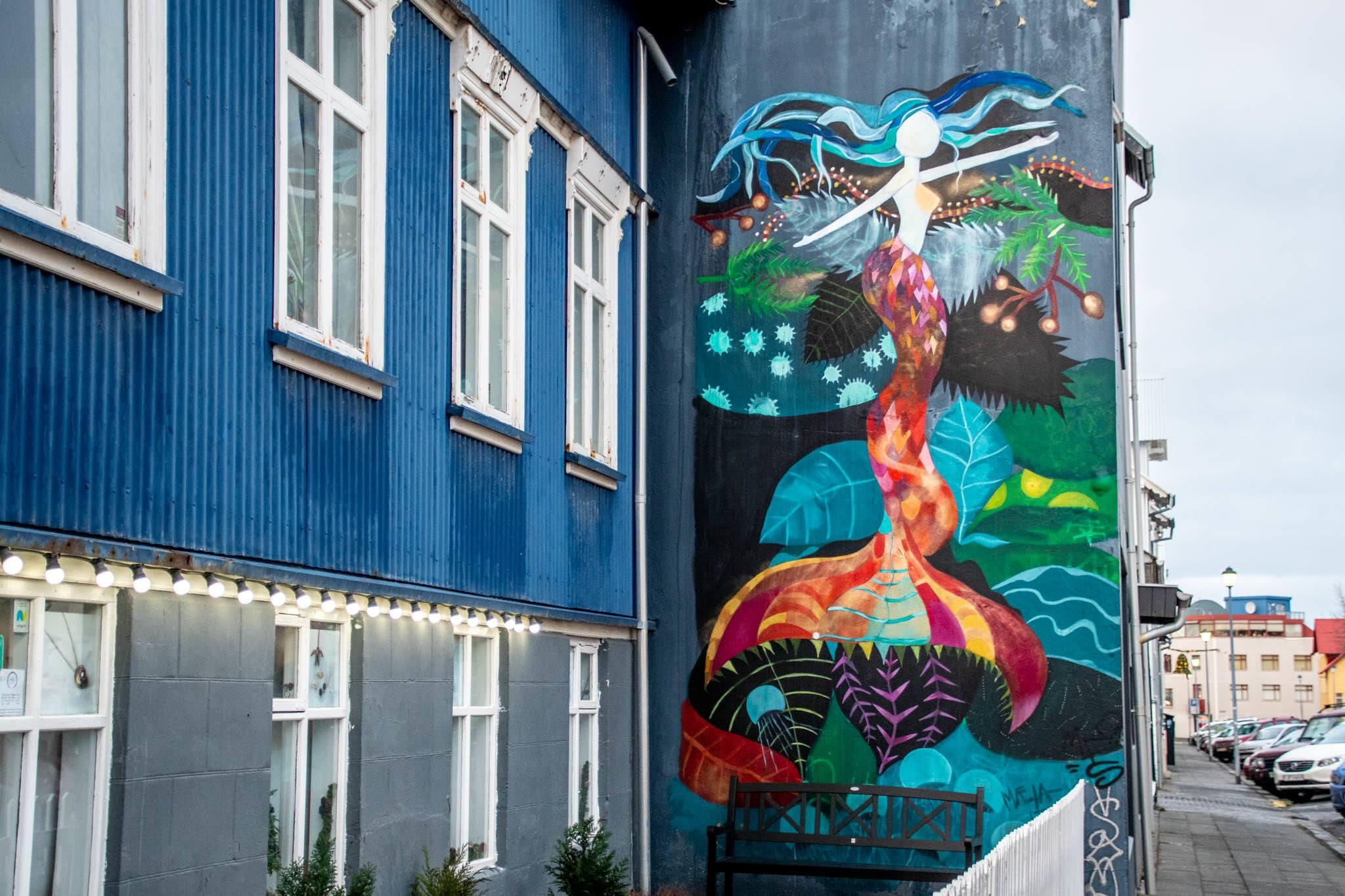Icelandic Mermaid mural that is attributed to artist Raus