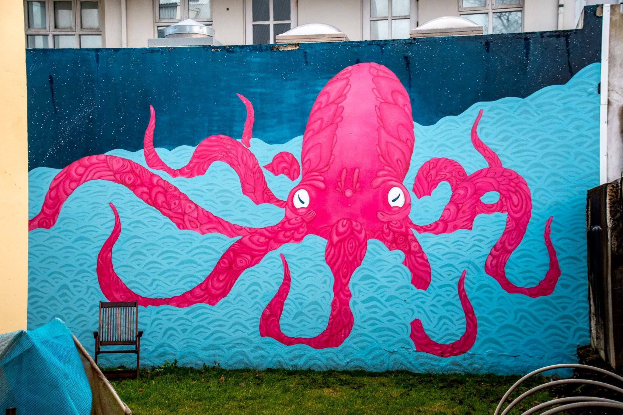 Pink octopus mural, part of the Reykjavik street art scene.