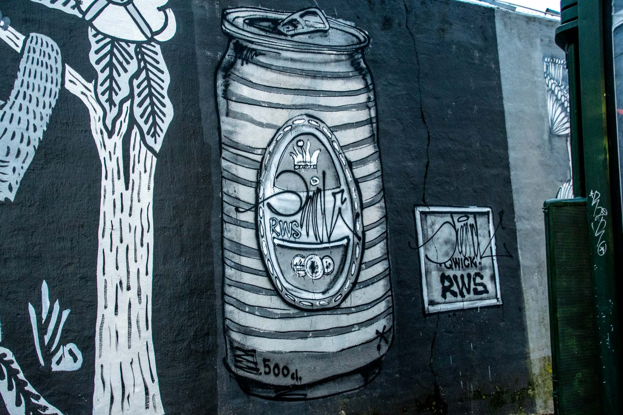 Street murals like this beer can are temporary