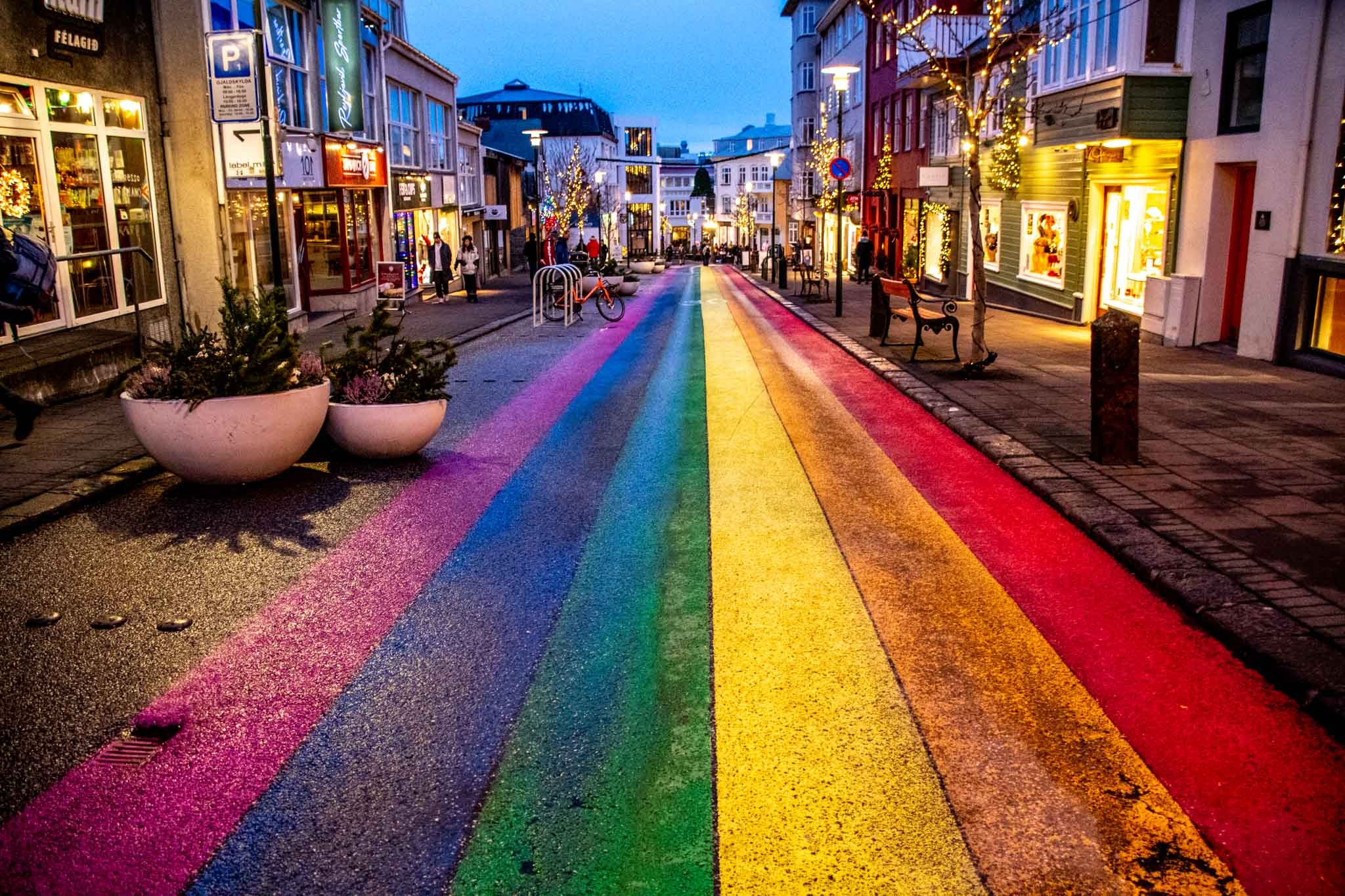 Rainbow pride flag painted on the street