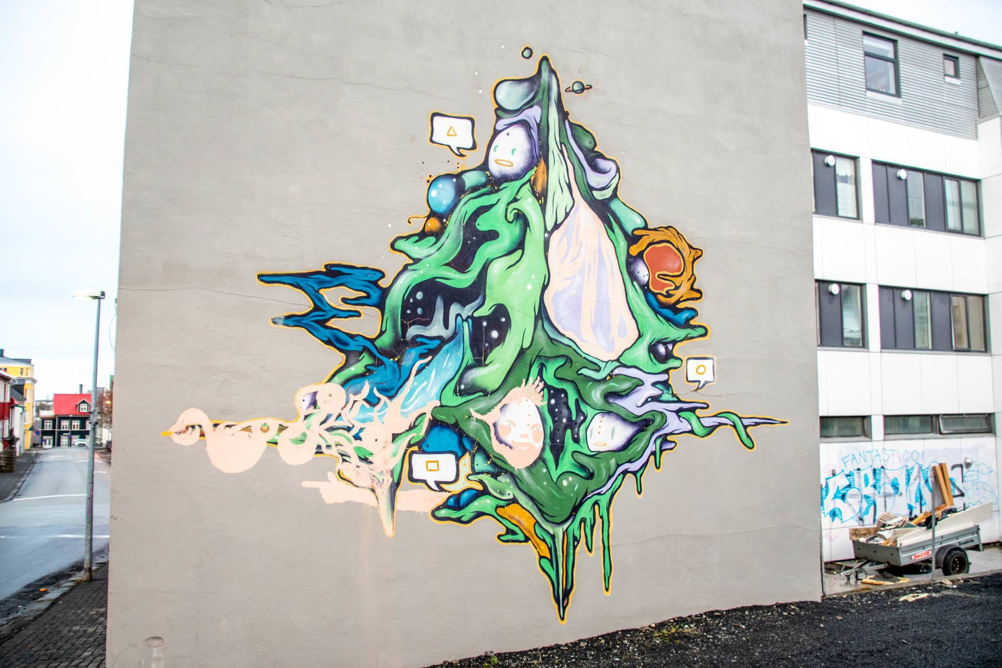 Some street art murals are unusual and indescribable