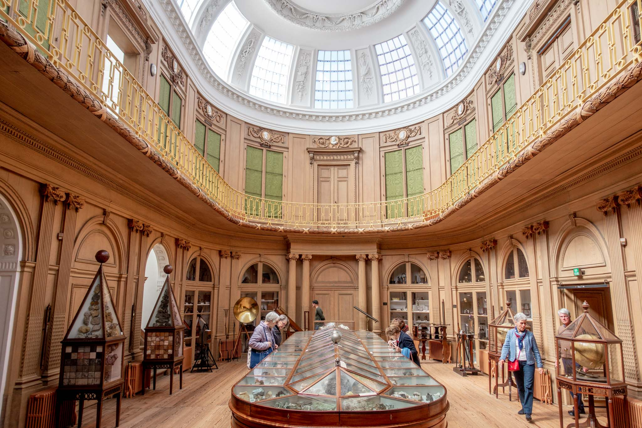 People in an oval room with a long museum display case