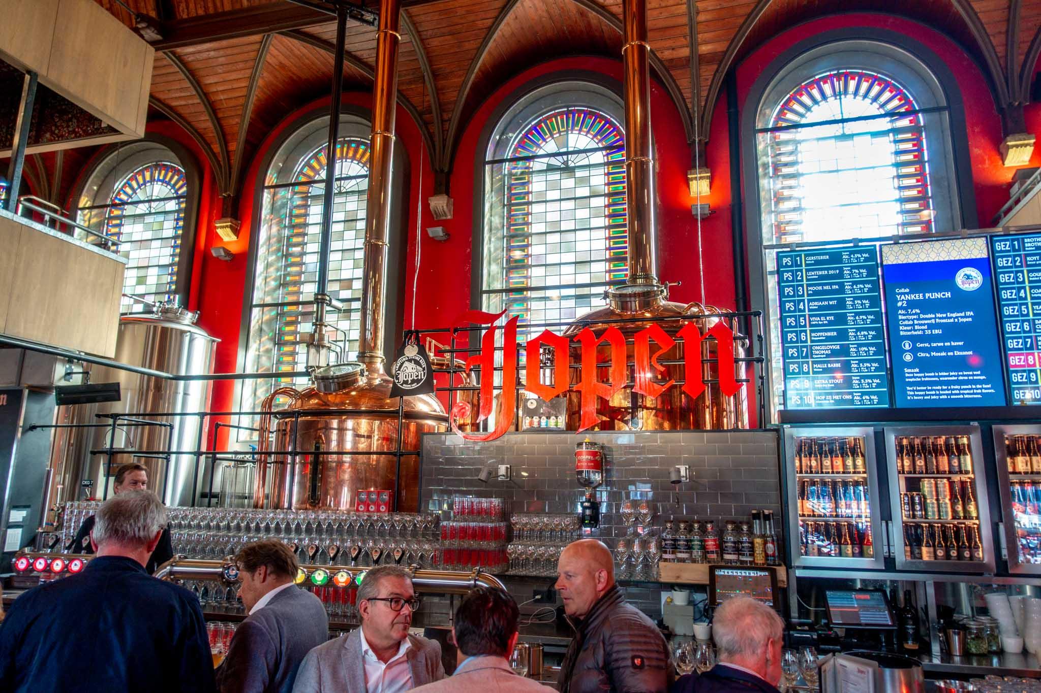 Bar inside a former church transformed into a brewery