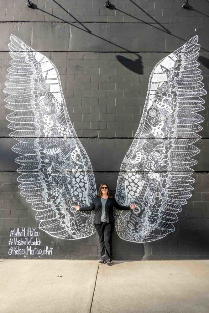 Nashville wings mural in The Gulch