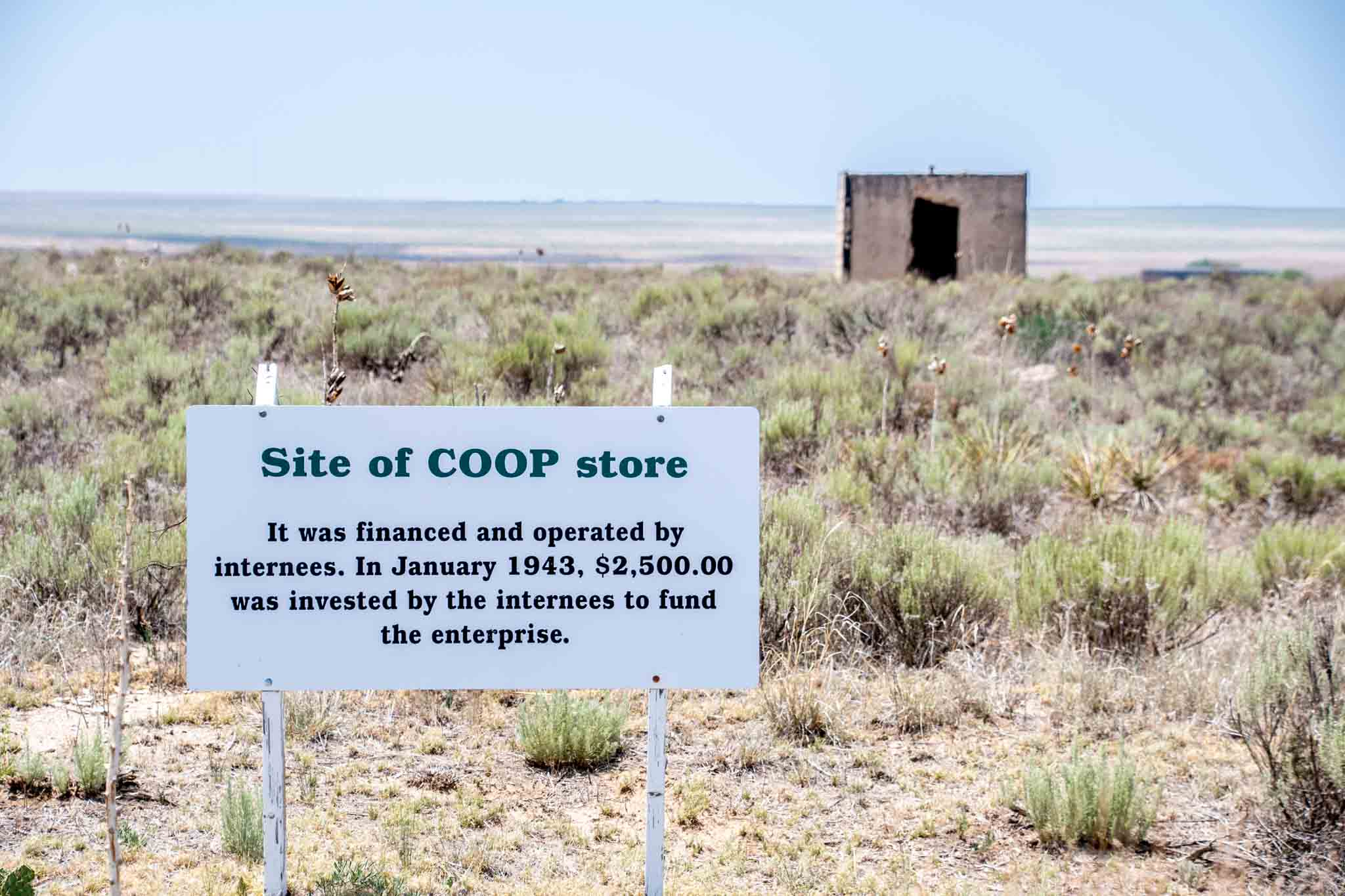 The coop storehouse and sign