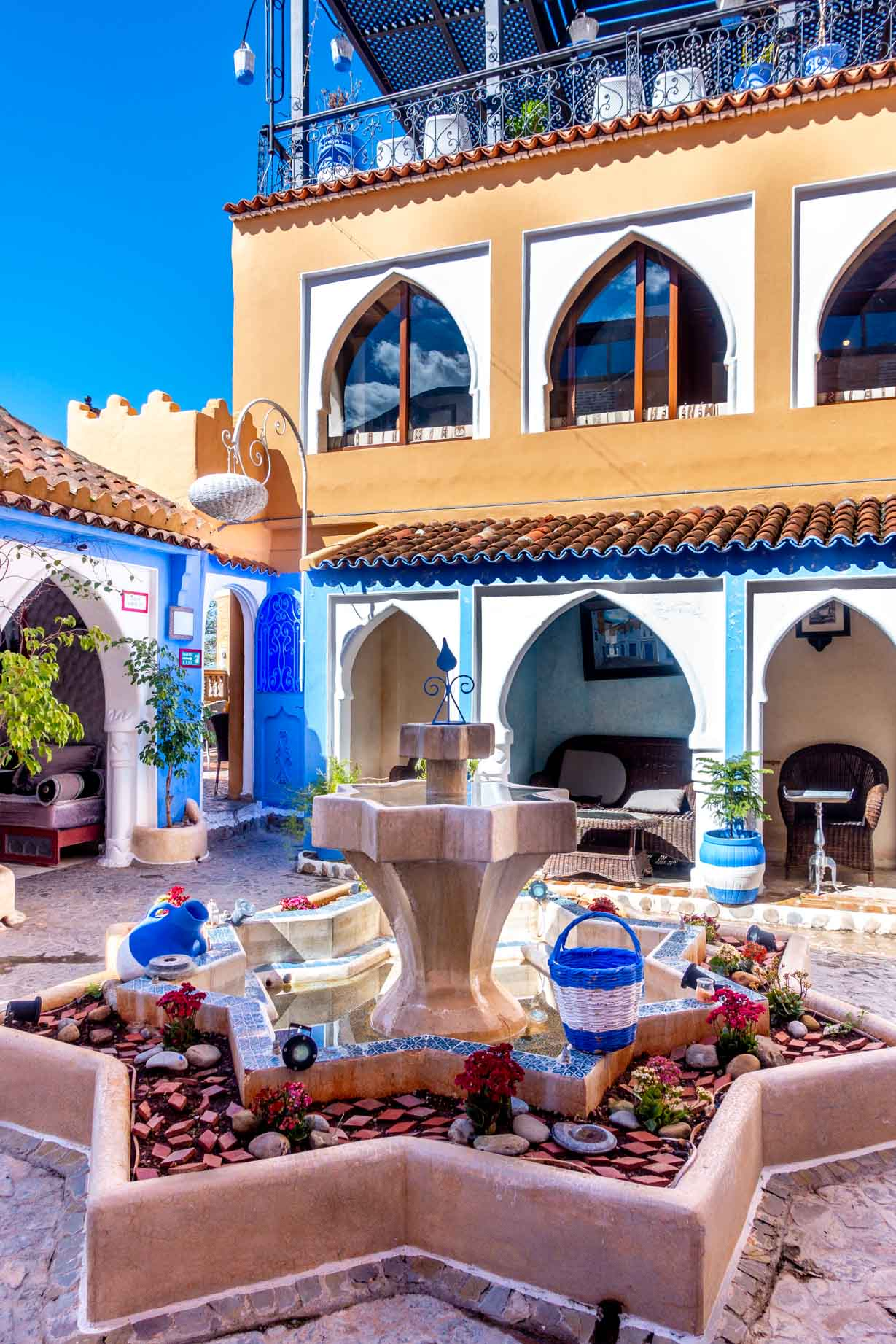 Star-shaped fountain in the courtyard of a riad