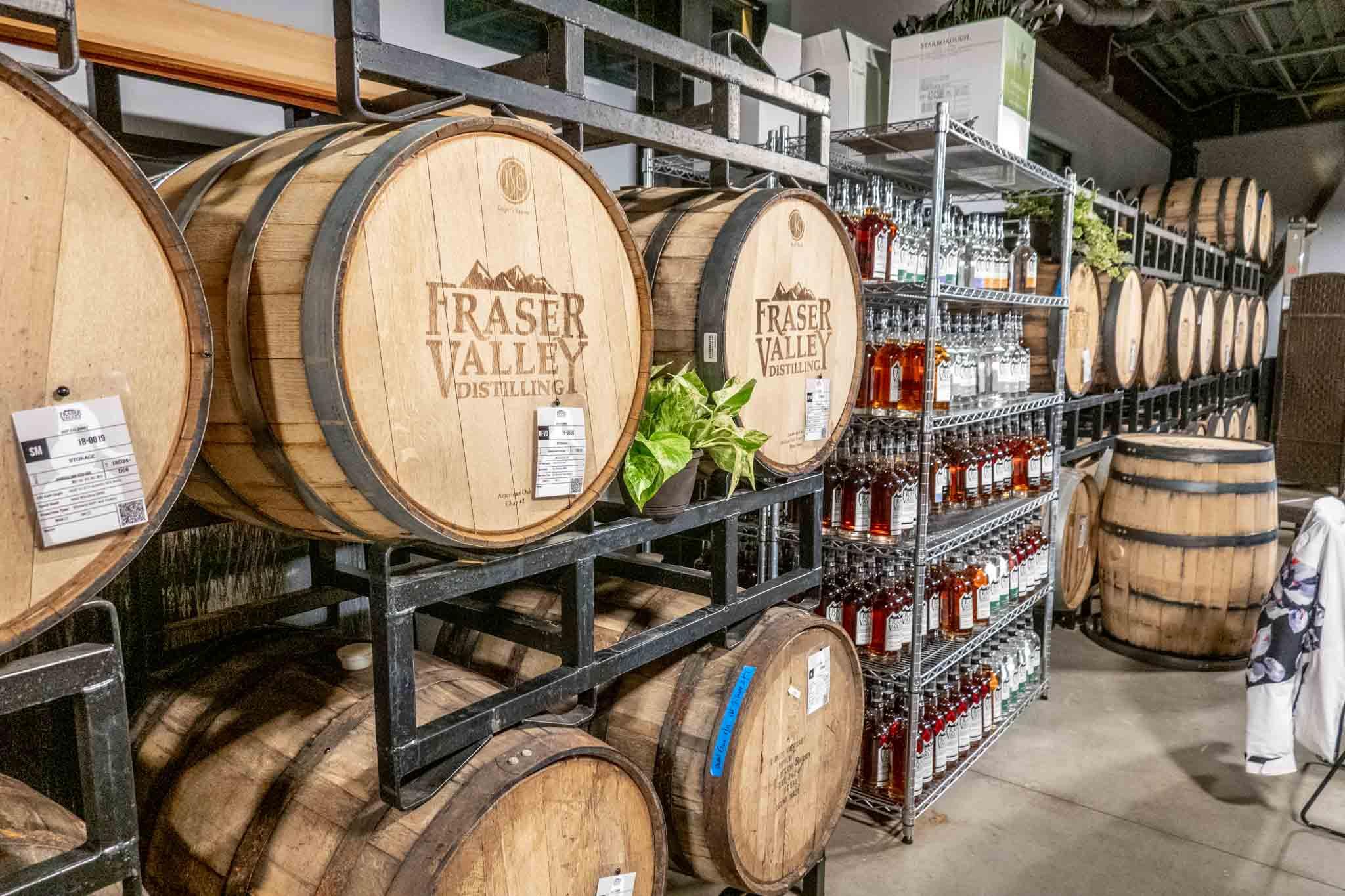 Stacked barrels at Fraser Valley Distilling