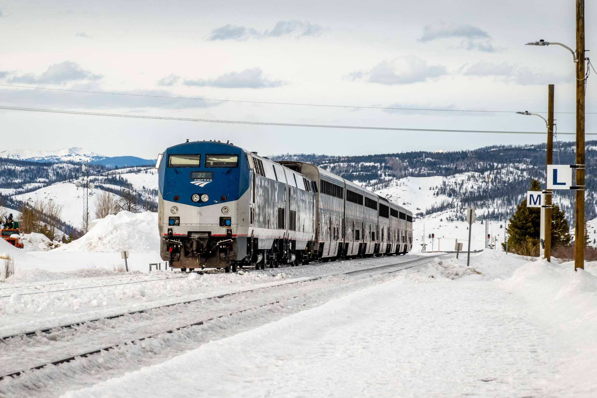 The Winter Park Express Ski Train in the snow