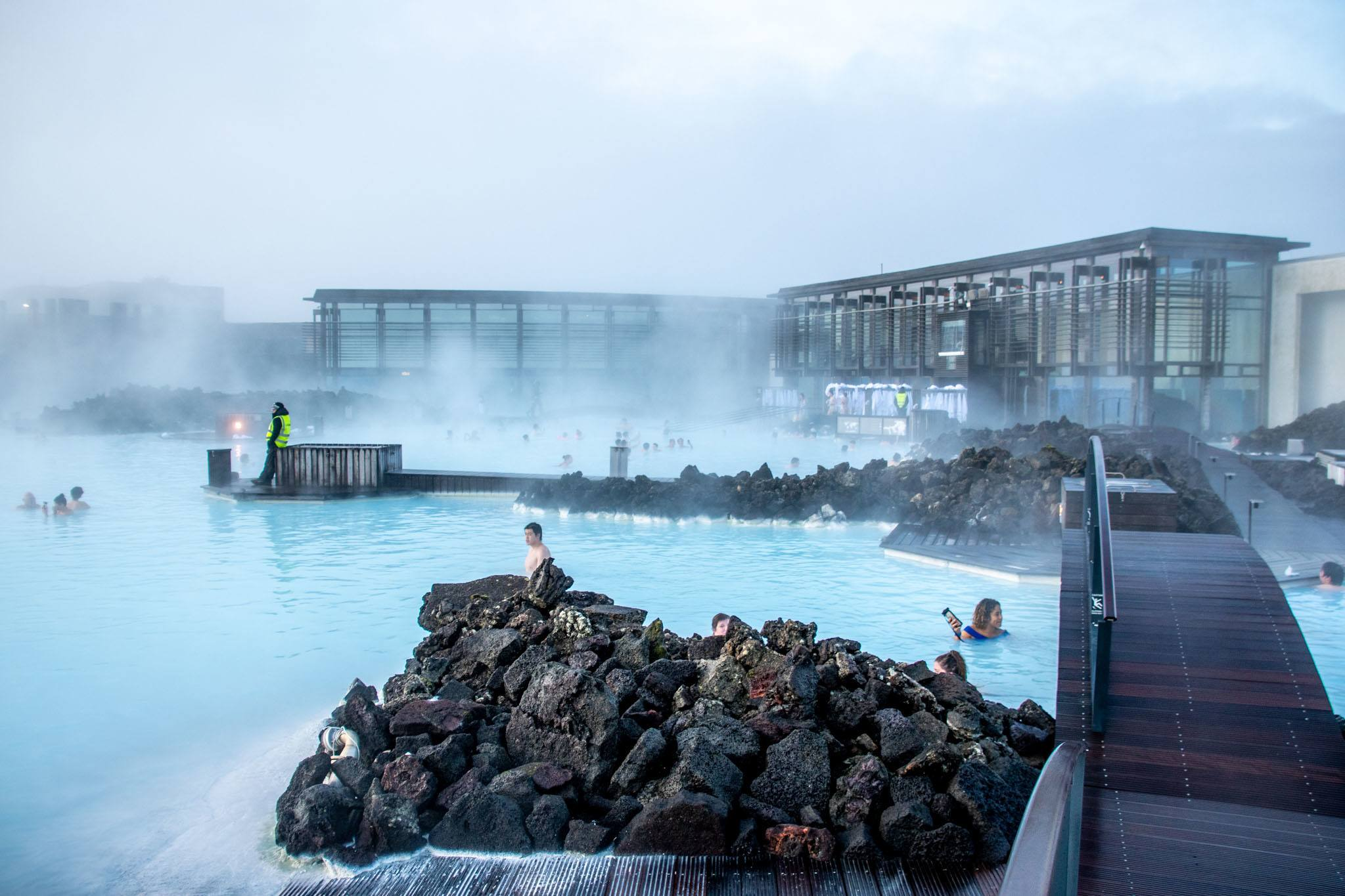 Swimmers at the Blue Lagoon in Iceland