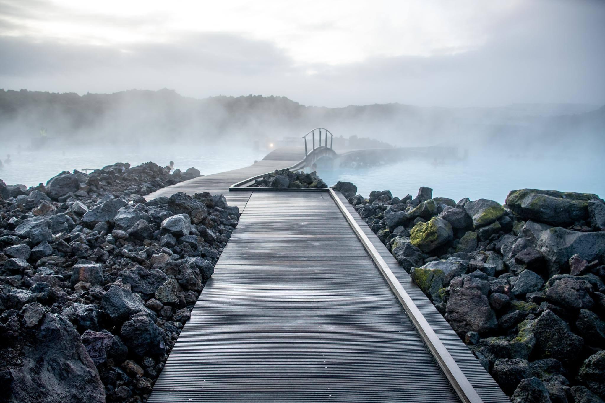 Sidewalks among the steam