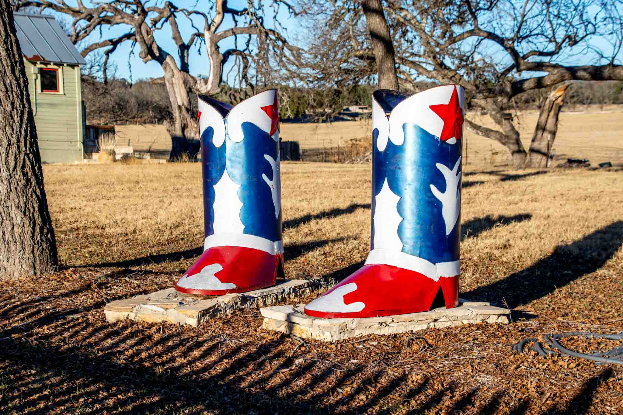 Large red, white, and blue cowboy boots