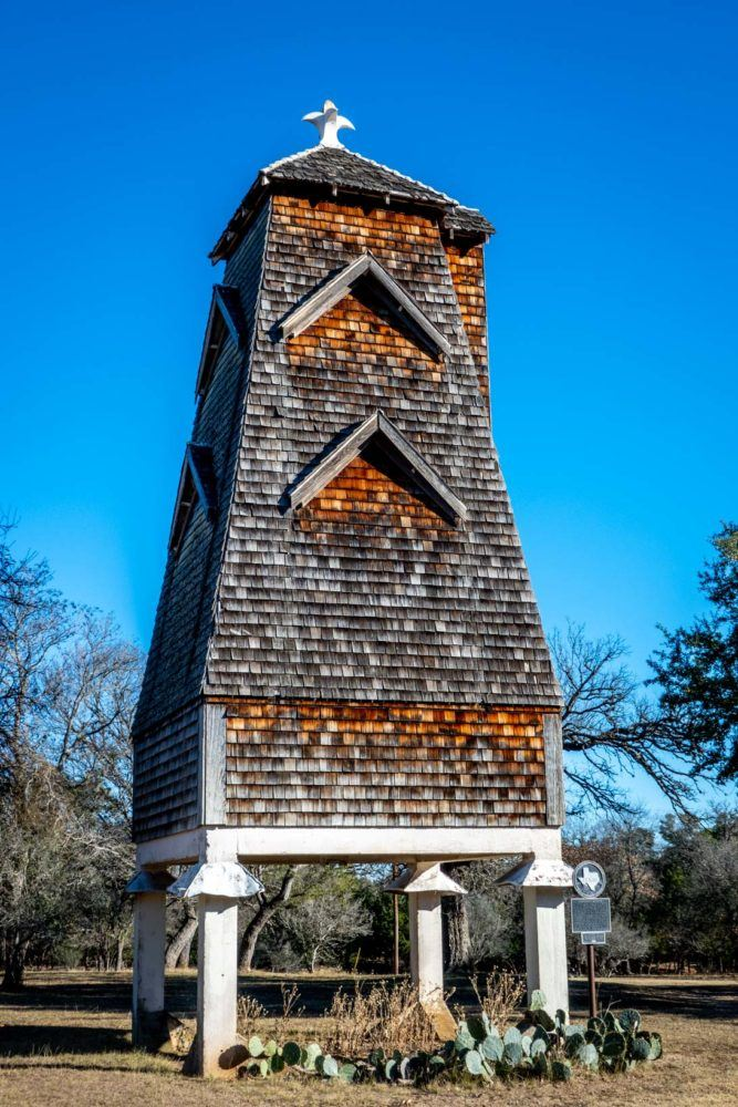 Wooden-shingled bat roost tower