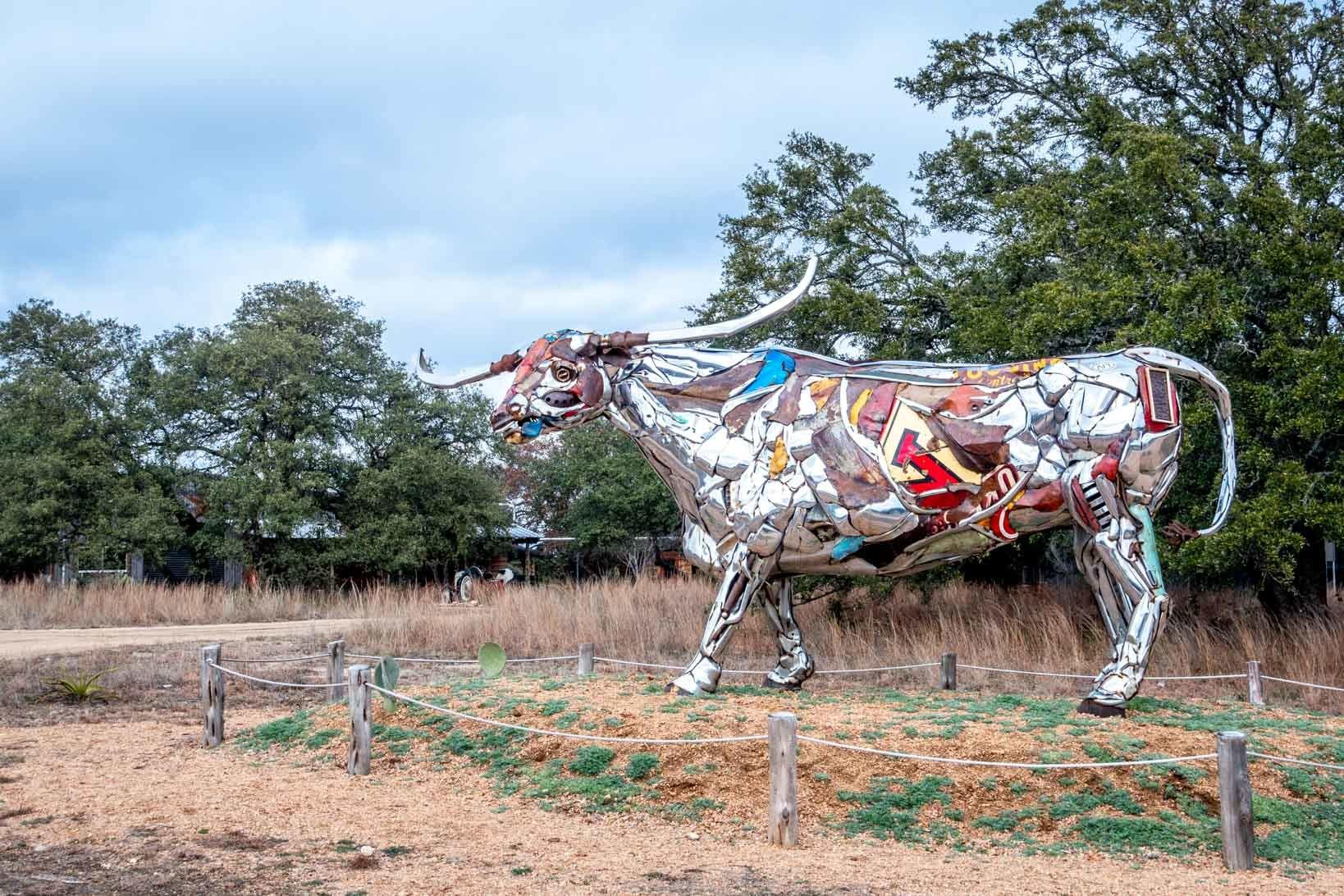Giant bull sculpture made from automobile car bumpers