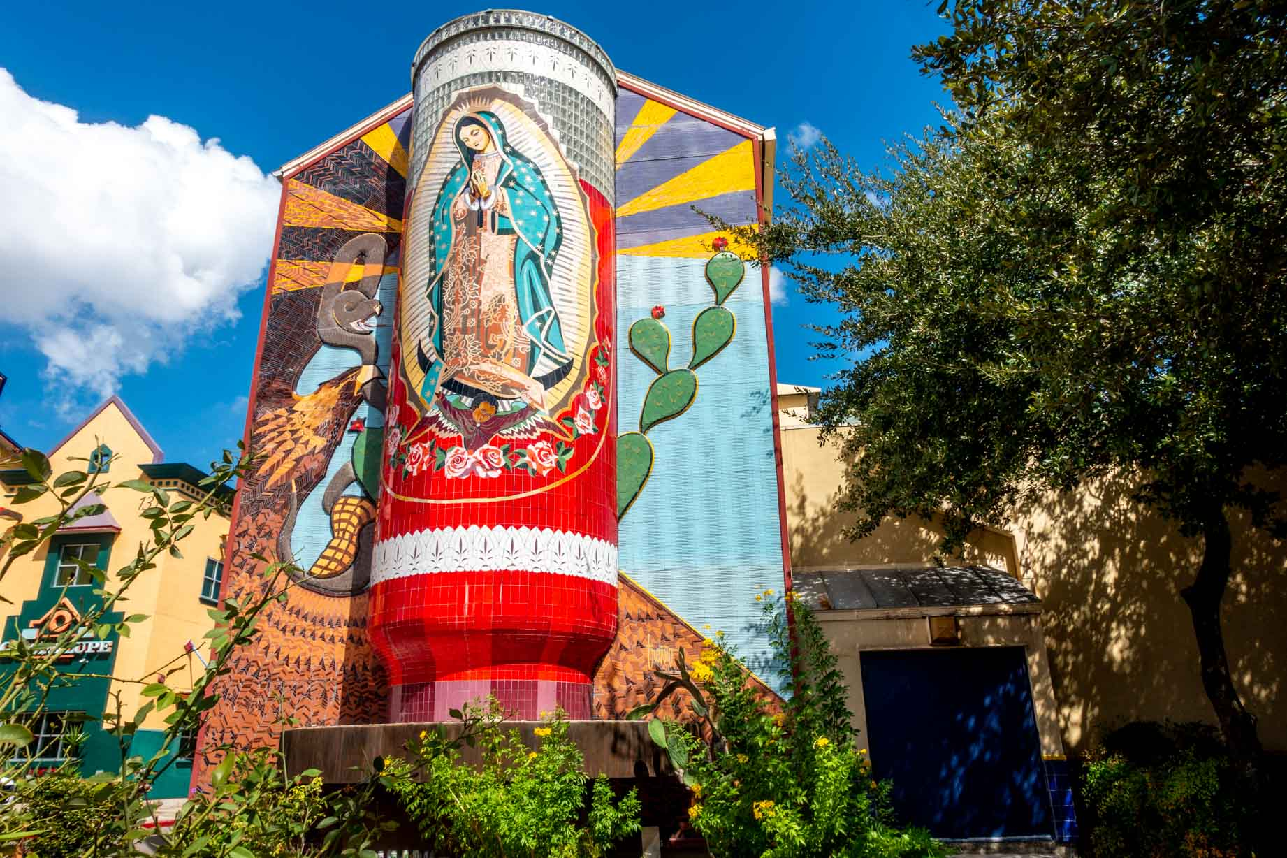 Mosaic of the Virgin of Guadalupe in shape of votive candle