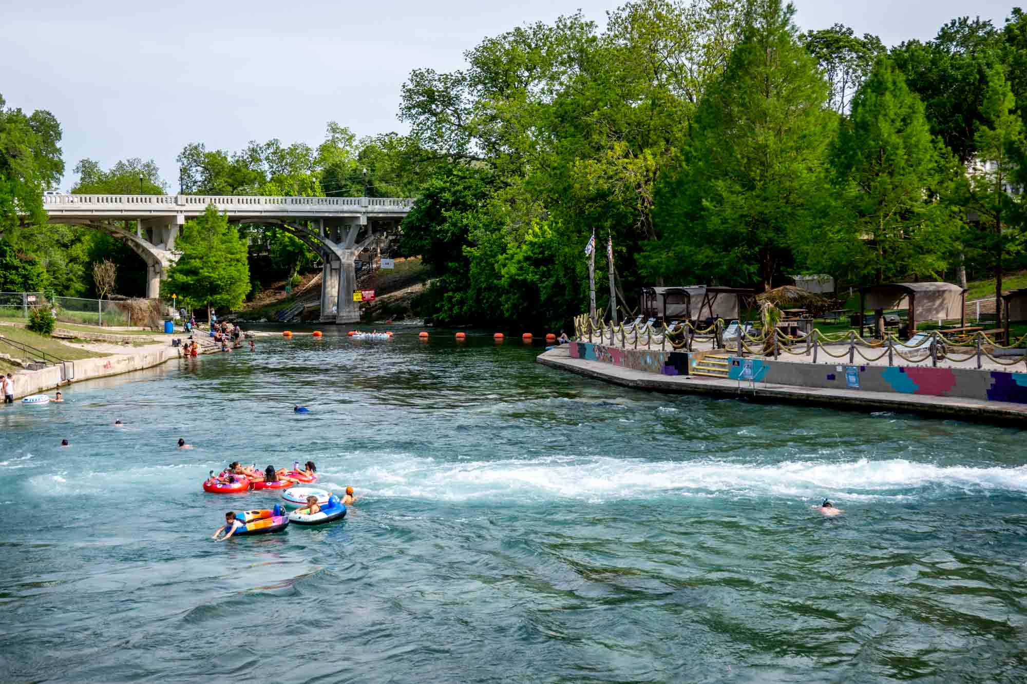 People in inner tubes in a river