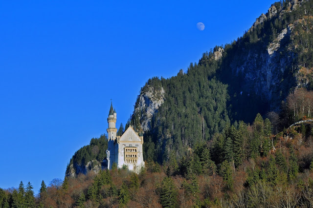 Neuschwanstein Castle and the Rising Moon
