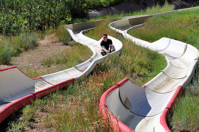 Lance on the Howler Alpine Slide, a Steamboat Springs summer adventure