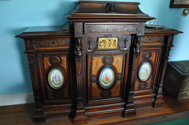 An ornately decorated chest in the LaPorte House