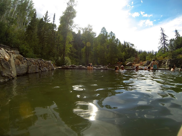 People in the natural pools at Strawberry Park