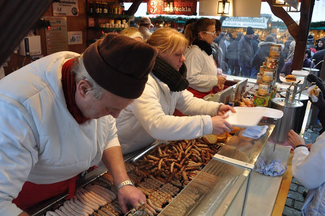 sausages at the Nuremberg Christmas Market, photo courtesy of Travel Addicts