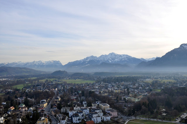 View of Salzburg and mountains from the Hohensalzburg Fortress