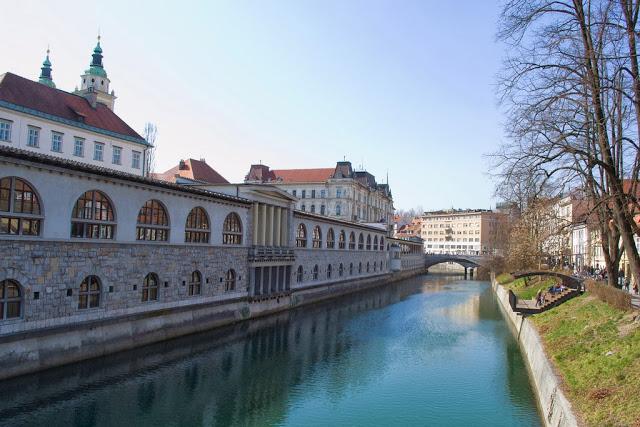 Central Market and river in Ljubljana