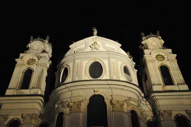 The Baroque Facade of the Collegiate Church at Night