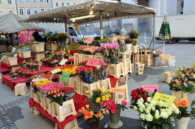 Bins full of flowers at the flower market in Salzaburg