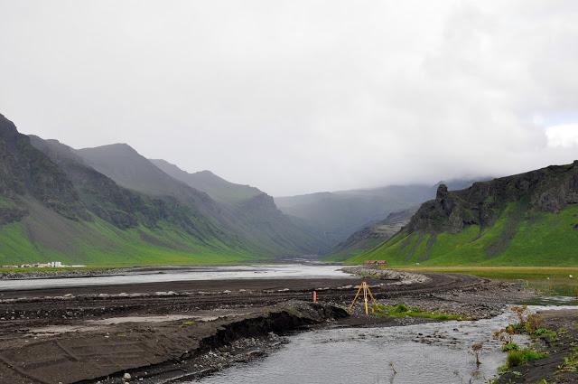 Survey crew looking at debris from the Eyjafjallajokull Volcanic Eruption