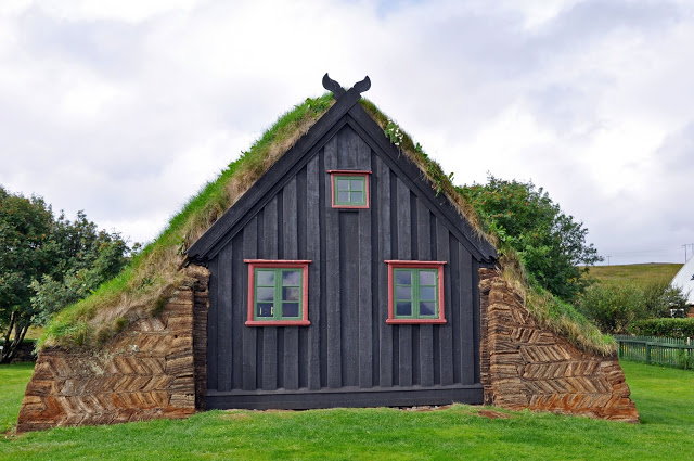Exterior of the turf church of Vidimyrarkirja in Varmahlid, Iceland