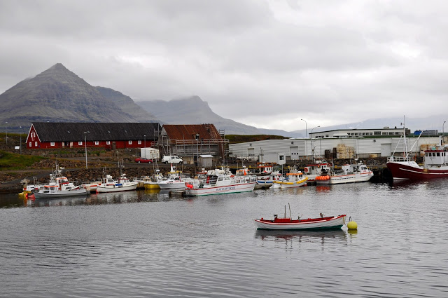 Buildings and boats in the harbor of Djupivogur, Iceland