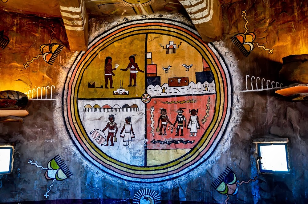 Hopi artwork painting showing people doing different activities.